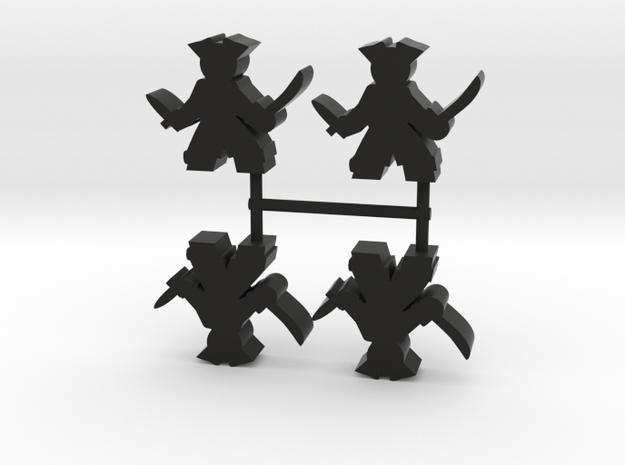 Pirate Meeple, sword dagger, 4-set in Black Natural Versatile Plastic