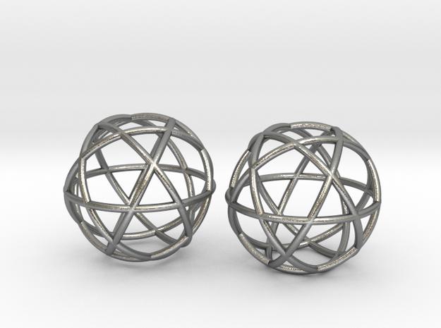 "Penta Sphere pair, .6"" diam in Natural Silver"