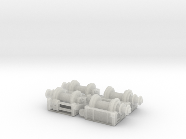 4 Deck Winches Z scale  in Smooth Fine Detail Plastic