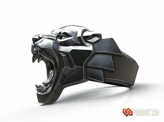 Roaring Black Panther ring in Natural Brass: 10 / 61.5
