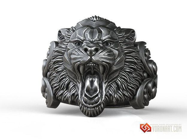 Angry Tiger animal ring in Natural Brass: 10 / 61.5
