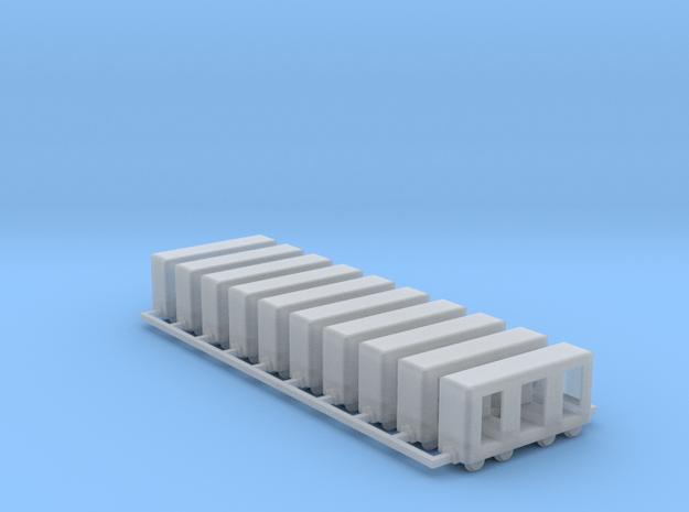 Grubenbahn Perseonenwagen V2 - 10erSet - Nf 1:160 in Smooth Fine Detail Plastic
