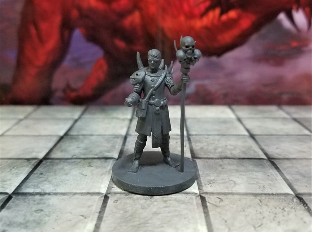 Human Warlock with Skull Staff in Smooth Fine Detail Plastic