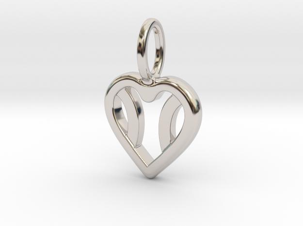 One Love Tennis Heart Pendant in Rhodium Plated Brass