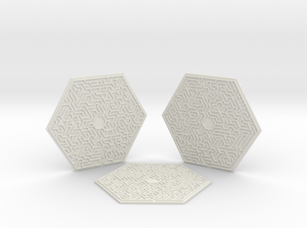 3 Hexagonal Maze Coasters in White Natural Versatile Plastic