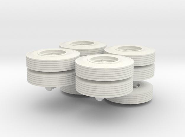 1/76 1960-1961 Dayton Spoke Semi Truck Wheels in White Natural Versatile Plastic