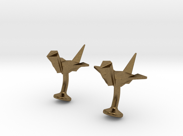 Origami Crane Cufflinks 3d printed