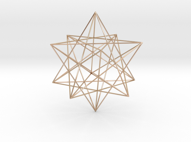 Modern miminalist dodecahedron geometric pendant in 14k Rose Gold Plated Brass: Extra Small