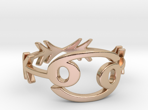 tribal arrow geometric cancer zodiac ring in 14k Rose Gold Plated Brass: 7 / 54