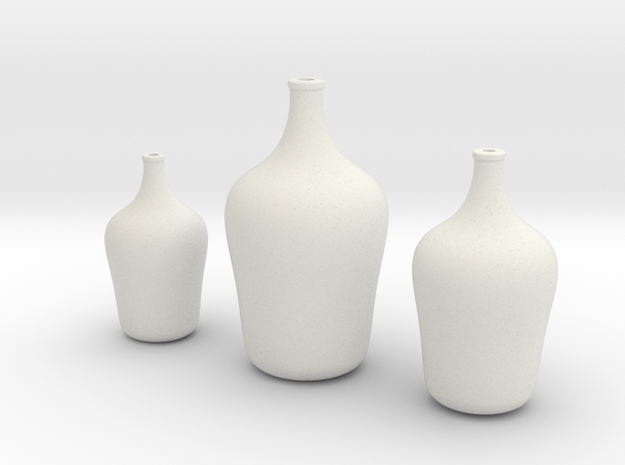 Floor Vases Set of 3 in White Natural Versatile Plastic