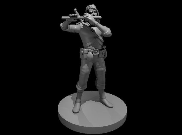 Elven Male Bard with Flute in Smooth Fine Detail Plastic