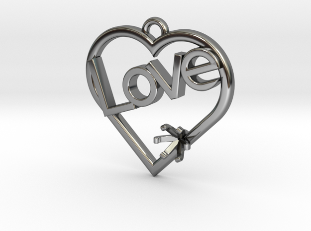 """Heart Pendant """"Love"""" (Offset 4.28mm) in Fine Detail Polished Silver"""