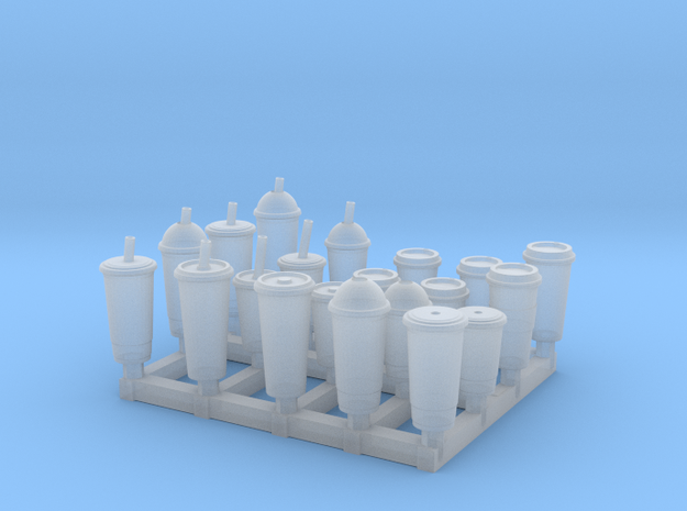 Coffee and Soda Cups in Smooth Fine Detail Plastic: 1:24
