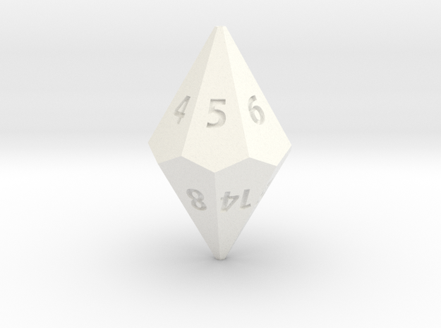 D14 dice in White Strong & Flexible Polished