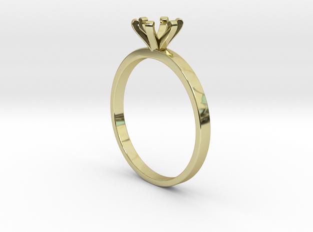 Plain Size 8 Ring - 6mm Gem - 6 prong v3 in 18k Gold