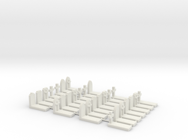 N Scale Cemetery Graveyard Mixed Loose 1:160 in White Natural Versatile Plastic