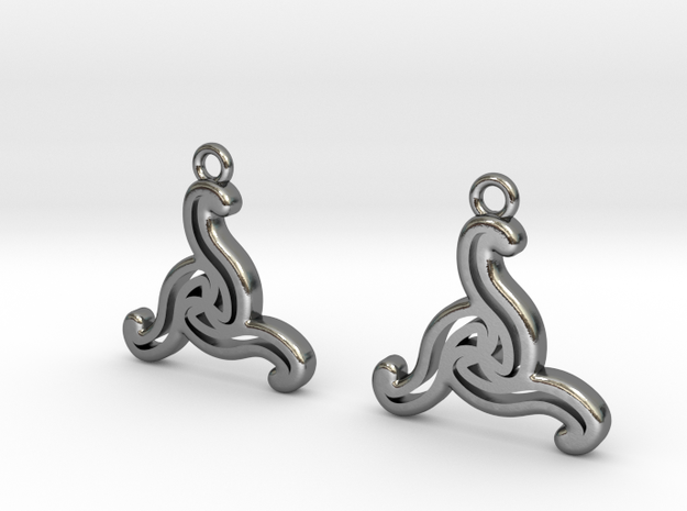 Double triskell earrings in Polished Silver