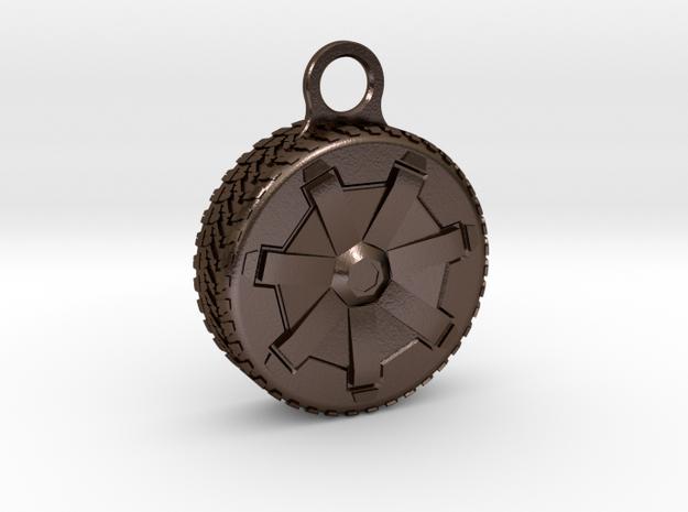 Cybertruck Wheel Key Chain in Polished Bronze Steel