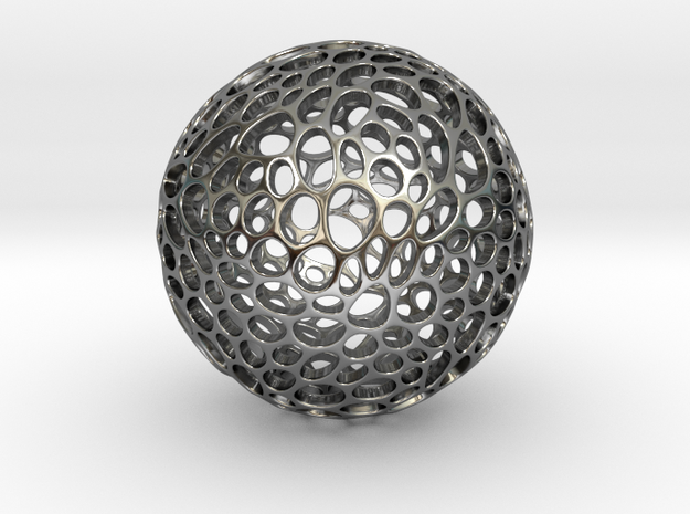 Alveole sphere in Fine Detail Polished Silver