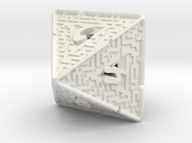 8 Sided Maze Die V2 in White Strong & Flexible