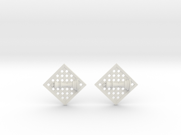 Chess Earrings - King in White Strong & Flexible