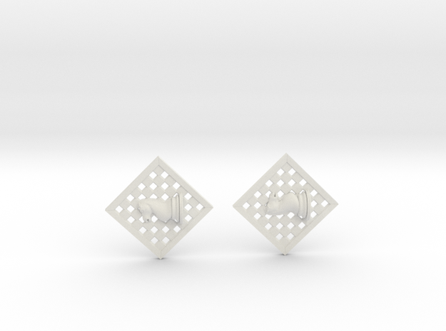 Chess Earrings - Knight in White Strong & Flexible