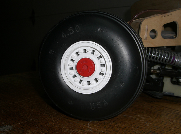 """F-111 Main Wheel Cover V2 3d printed Sullivan 4.5"""" wheel with F-111 wheel cover and hub."""