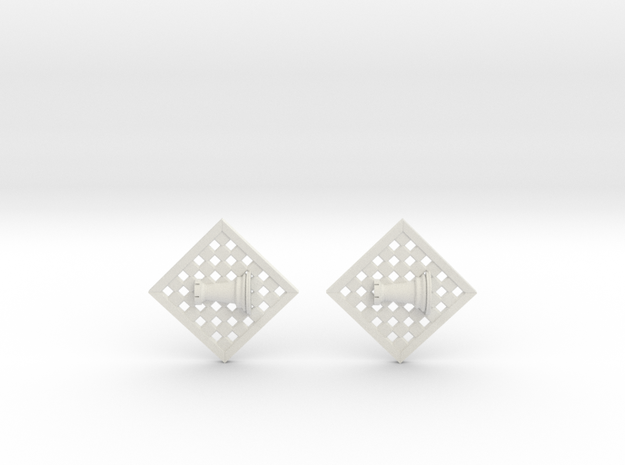 Chess Earrings - Rook in White Natural Versatile Plastic
