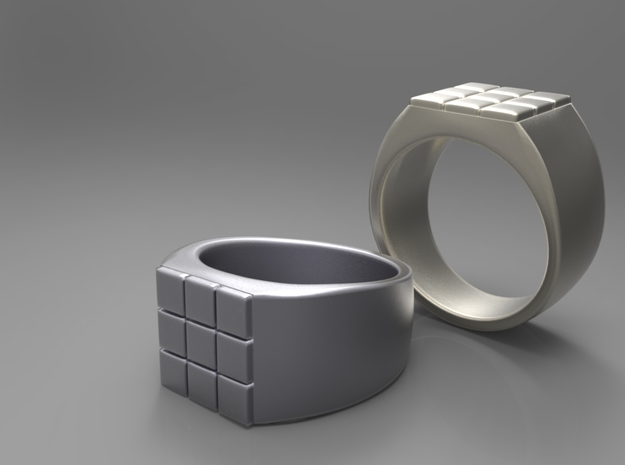 Rubik Ring in Polished Grey Steel
