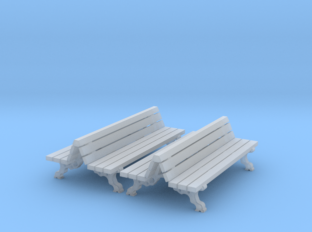bancs double  HO 24 mm long  2 pieces in Smooth Fine Detail Plastic