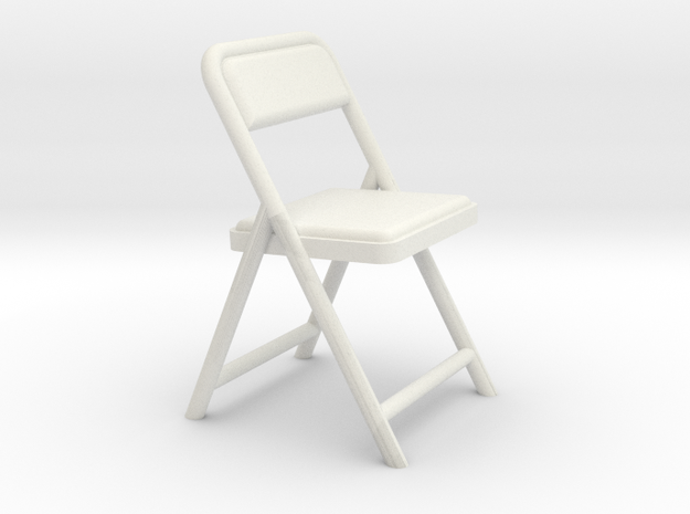 Miniature 1:24 Scale Folding Chair 1 in White Natural Versatile Plastic