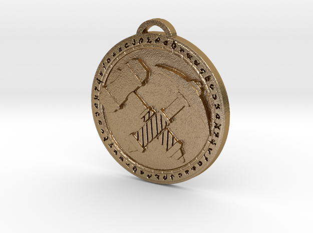 Explorers League Faction Medallion in Polished Gold Steel