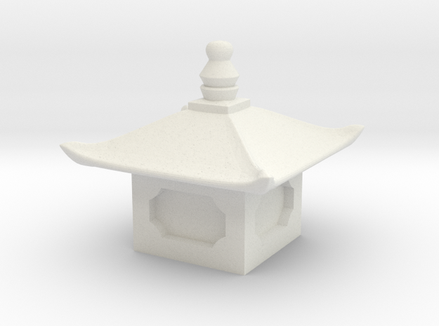 Japanese Pagoda/lantern figure top in White Natural Versatile Plastic: Extra Small