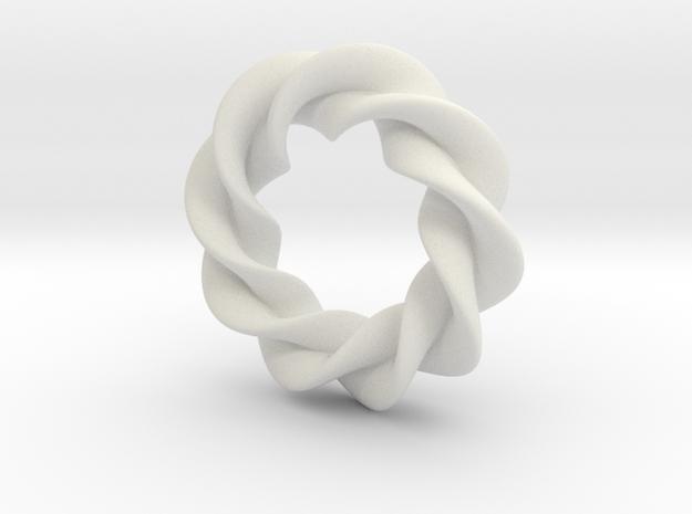 Twisted Torus in White Natural Versatile Plastic: Small