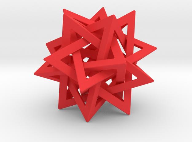 Tetrahedron 5 Star 2.4 diameter in Red Processed Versatile Plastic