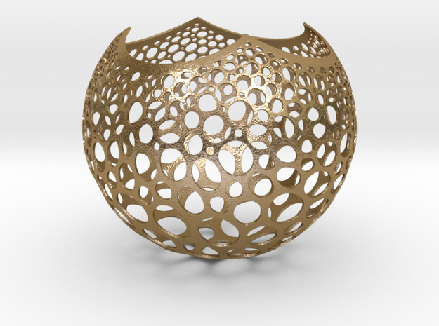 Stereographic Voronoi Sphere in Polished Gold Steel