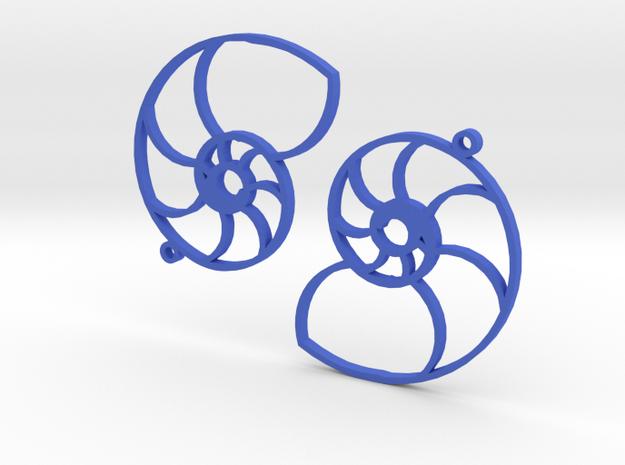 Nautilus Earings in Blue Processed Versatile Plastic