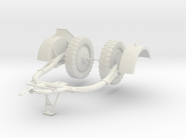 1:16 Sd.Ah 51 Trailer Anhanger for Flak 38 in White Natural Versatile Plastic