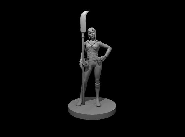 Human Female Hexblade Warlock with a Glaive in Smooth Fine Detail Plastic