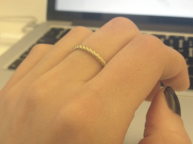 Ring Twisted 16 mm diameter or size 5.5  3d printed