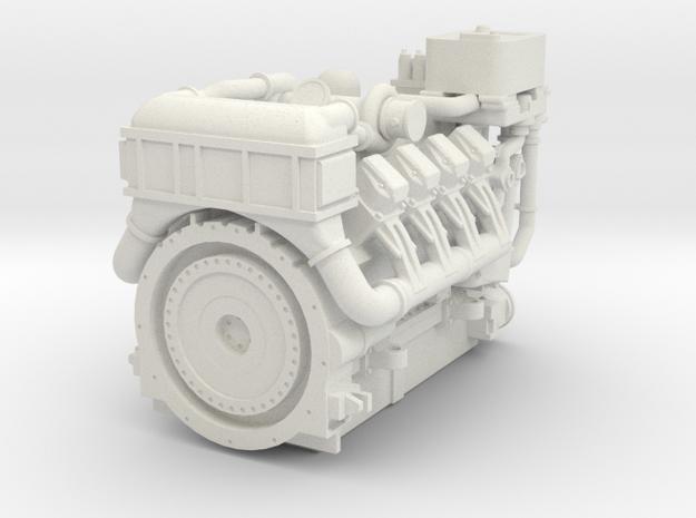 1380HP V8 Diesel Turbocharged Industrial Engine in White Natural Versatile Plastic: 1:48 - O