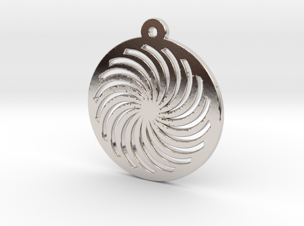 KTPD01 Spiral Die Cutting Pendant Jewelry in Rhodium Plated Brass