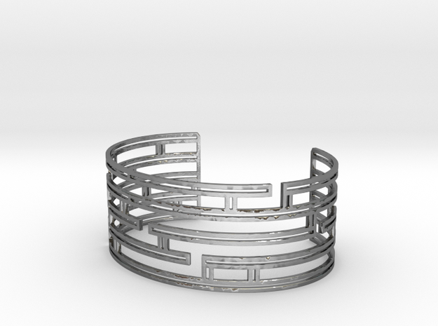 Maze Strings Bracelet in Polished Silver