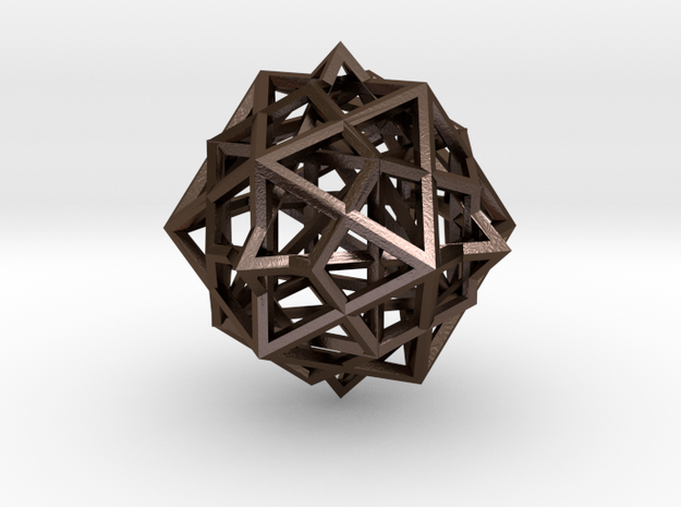 nested platonic solids - 3 cm in Polished Bronze Steel