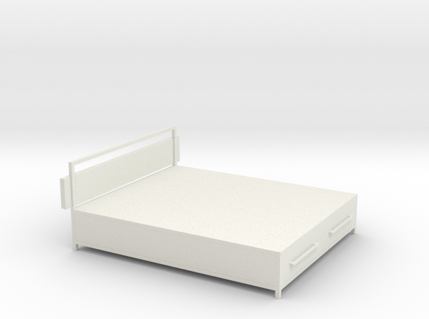 1:12 Miniature Industrial-style Bed Frame in White Natural Versatile Plastic