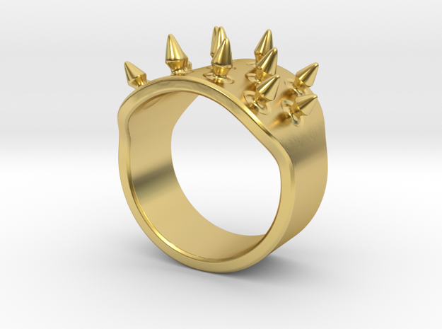 Spiked Armor Ring_B in Polished Brass: 8 / 56.75