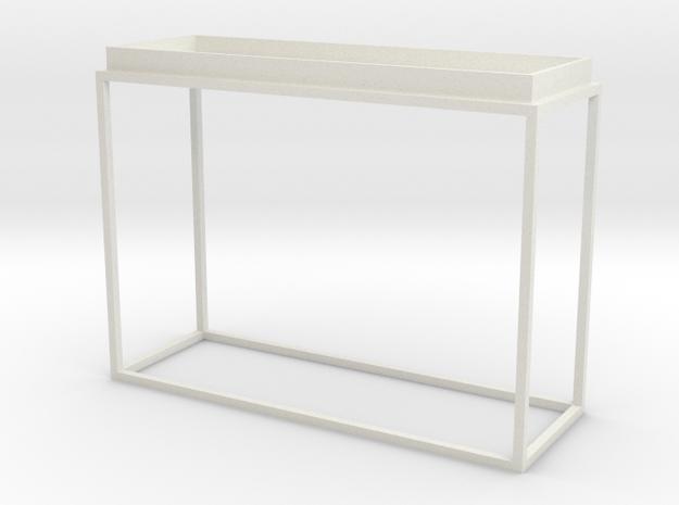 1:12 Miniature Back Table in White Natural Versatile Plastic