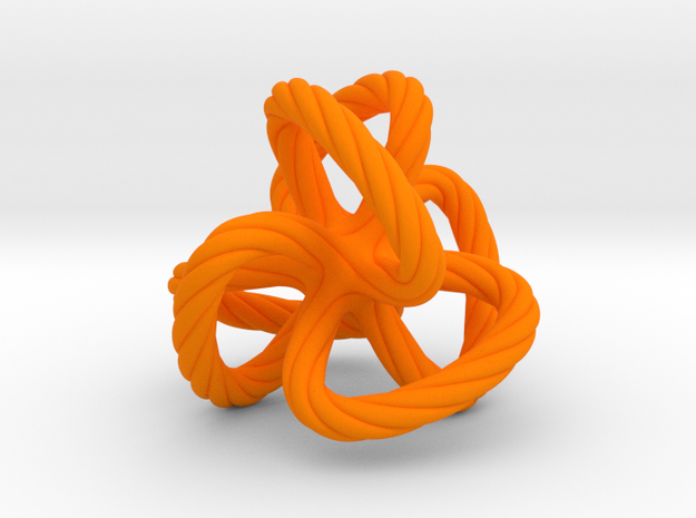 Dodecahedron quadroloop in Orange Strong & Flexible Polished