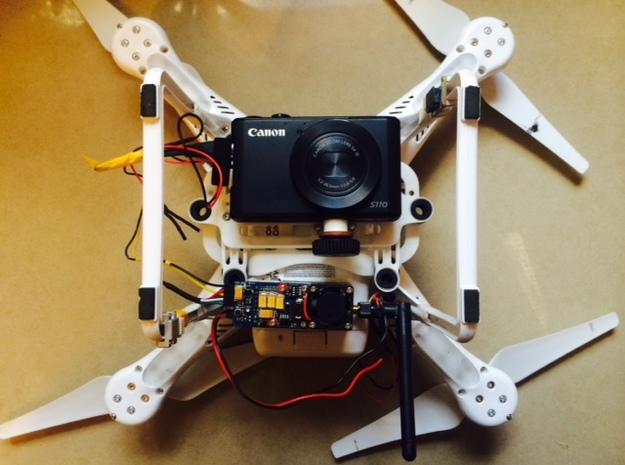 DJI Phantom 2 Universal Camera Mount 3d printed Mounting with a vtx