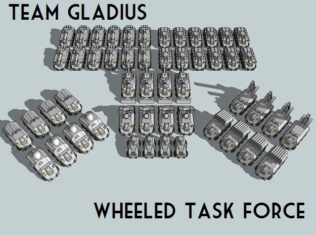 """Team Gladius"" 3mm Wheeled Task Force(52pcs) in Smooth Fine Detail Plastic"